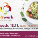 Einladung zum nettwerk Lunch am 13.11.19 im Gasthaus Traube
